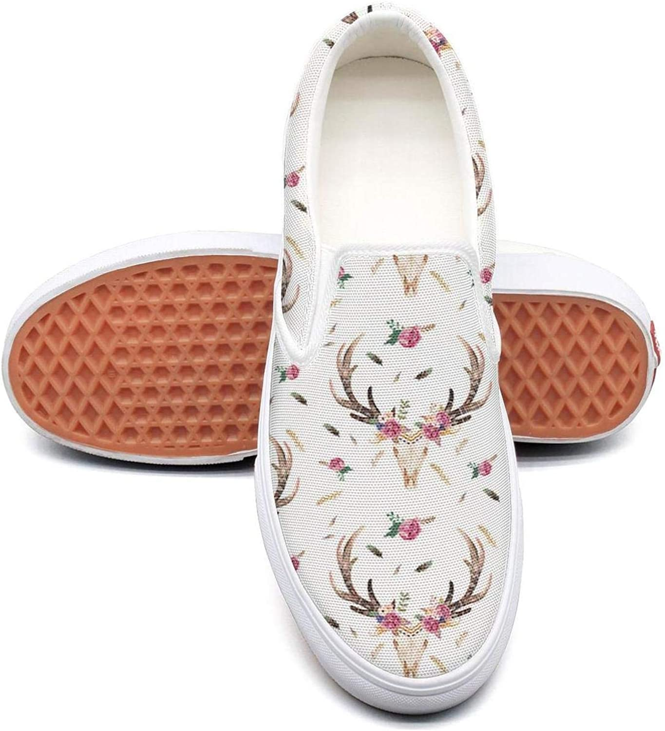 Aztec Beauty Floral Skull Deer Slip On Canvas Upper Sneakers Canvas shoes for Women Fashion