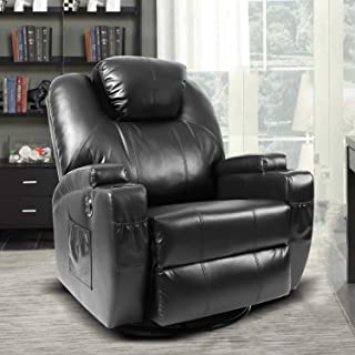 Massage Recliner Chair, Fitnessclub, Electric & Headrest Adjustable Recliner Sofa with Heat, Zero Gravity, 360 Degree Swivel, Leather Lazy Boy Recliner for Office, Study, Home Theater, Media Room, Bla