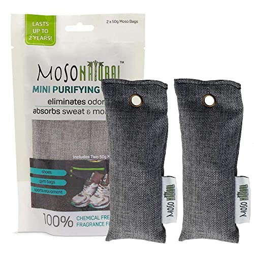 MOSO NATURAL Mini Air Purifying Bag 2 Pack Bamboo Charcoal Air Freshener 5596e3fafa065