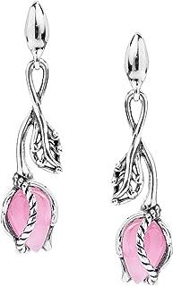 Sterling Silver Pink Jade Rosebud Dangle Earrings