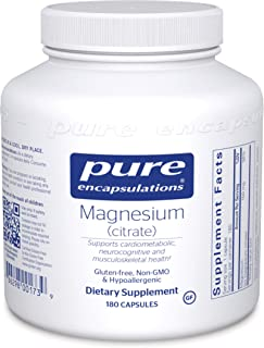 Pure Encapsulations Magnesium (Citrate) | Supplement for Constipation, Stress Relief, Sleep, Heart Health, Nerves, Muscles...