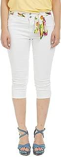 Suko Jeans Women's Denim Capris - Stretch - Floral Fashion Belt