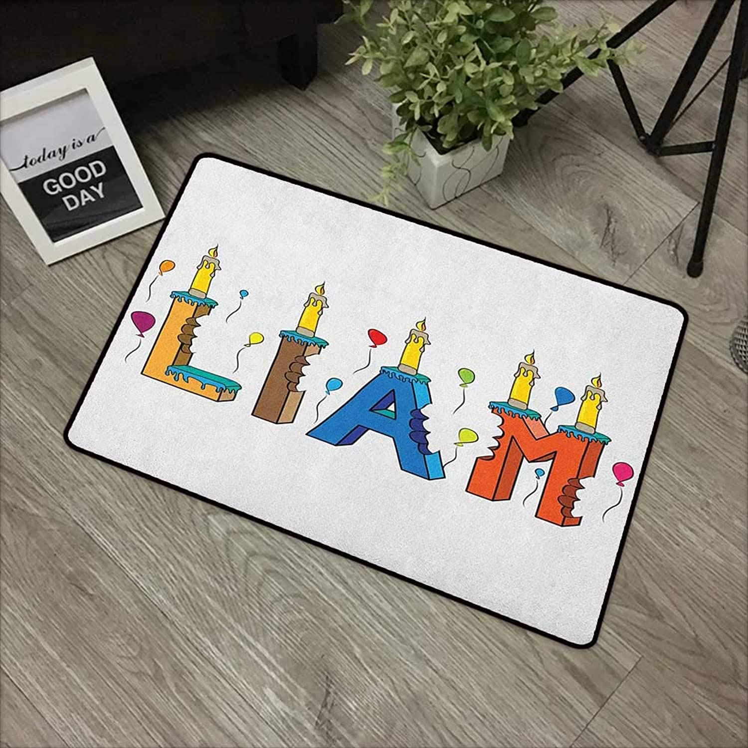 Bathroom mat W35 x L59 INCH Liam,English First Name in a colorful Letter Style Cake Design with Bite Marks and Candles, Multicolor with Non-Slip Backing Door Mat Carpet