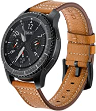 AiiKo Compatible with Galaxy Watch 46mm Bands,22mm Genuine Leather Watch Strap Buckle Bracelet with Quick Release Pin Replacement for Samsung Galaxy Watch 46mm/Gear S3 Classic/Frontier,Brown