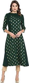 Janasya Women's Dark Green Poly Crepe Kurta with Attached Scarf