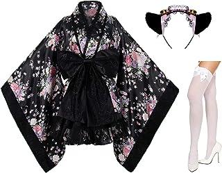 Japanese Anime Lolita Cherry Sakura Flower Printing Kimono Costumes Fancy Dress Maid cat Headband Socks Set(DHF004) Black