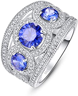 Empsoul Women 925 Sterling Silver Unique Round Cut 3-Stone Filled Blue Topaz Pave Diamond Hollow Promise Wedding Band Ring...