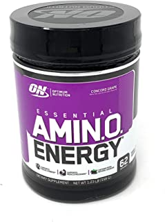 Optimum Nutrition Essential Amino Energy, Concord Grape, Preworkout and Postworkout Recovery with Essential Amino Acids and Caffeine from Natural Sources, 62 Servings, 1.23 lb, Pack of 1