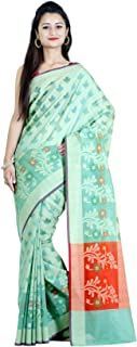 Women's Cotton Silk Chanderi Indian Ethnic Banarasi Saree with Unstitched Blouse Piece(1085)