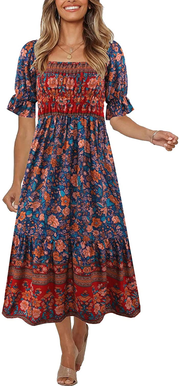 Vintage Style Dresses | Vintage Inspired Dresses Womens Summer Bohemian Square Neck Floral Print Ruffle Vintage Flowy Beach Vacation Long Midi Boho Dress  AT vintagedancer.com