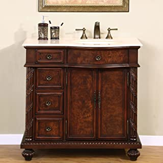 Silkroad Exclusive Marble Top Single Off Center Sink Bathroom Vanity with Cabinet, 36