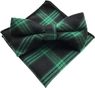 Men's Cotton Bow Ties Pocket Square Set Pre-Tied Checks Handmade Necktie
