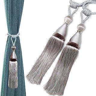 Geritte 2 PCS Drapery Curtain Tiebacks Curtain Holdbacks Holders Home Decorative Rope Braided Buckle Drapery Ball Tassels ...