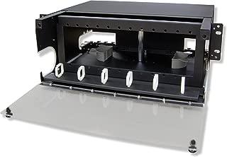 Lynn Electronics 4U Fiber Optic Rackmount Enclosure Panel, holds 12 LGX footprint panels or modules for a maximum capacity of 288 fibers. Fits 19 and 23 inch racks.