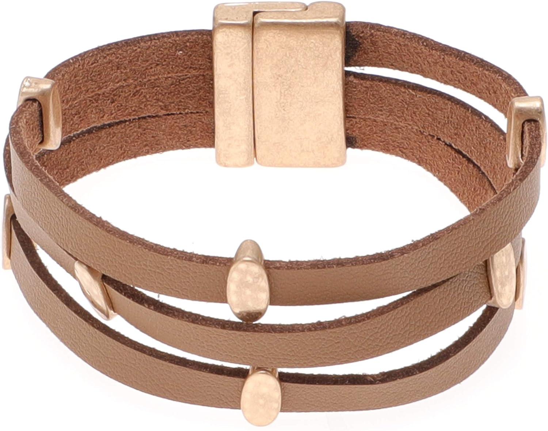 MIRMARU Women's Leather Bracelets Bohemian Bangle Multi Leather Strands Wrap Bracelets Cuff Wristband with Magnetic Clasp