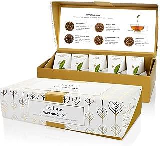 Tea Forté WARMING JOY Petite Presentation Box Tea Sampler Gift Set, Assorted Variety Tea Box, 10 Handcrafted Pyramid Tea Infuser Bags with Black Tea & Herbal Tea Winter Holiday Blends