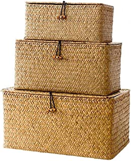 Lot de 3 Seagrass Paniers de rangement avec couvercle naturel en osier tissé boîte de rangement rectangulaire Seagrass bla...