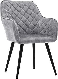 Duhome Silla de Comedor con Brazos Silla tapizada Vintage sillón con Patas de Metallo 8058-1, Color:Gris, Material:Terciopelo Vintage