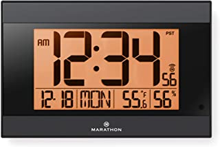 Marathon Large Atomic Wall Clock with Auto Backlight, Calendar, Temperature, and Humidity - Self Setting, Self Adjusting - Batteries Included - CL030052BK (Black Frame, Black Trim)