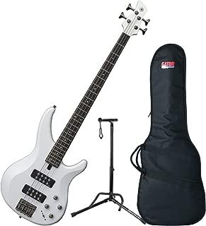 Yamaha TRBX304 WH TRBX-304 White 4 String Bass Guitar w/ Gig Bag and Stand