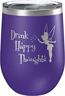 Engraved Insulated Stainless Steel Funny Wine Tumbler with Lid | Cup for Hot and Cold Drinks with Graphics | Tinkerbell Lover | Fairy Gifts | By Laser Etchpressions | Drink Happy Thoughts Purple