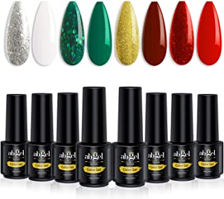 Ab Gel Soak Off UV LED Starter Kit for Manicure Collection of Silver Gold Glitter White Green Red 8 PCS Gel Nail Polish Set