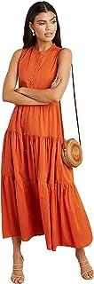 فستان طويل بتصميم متدرج بلون واحد وبدون اكمام مع اغلاق بازرار امامية للنساء