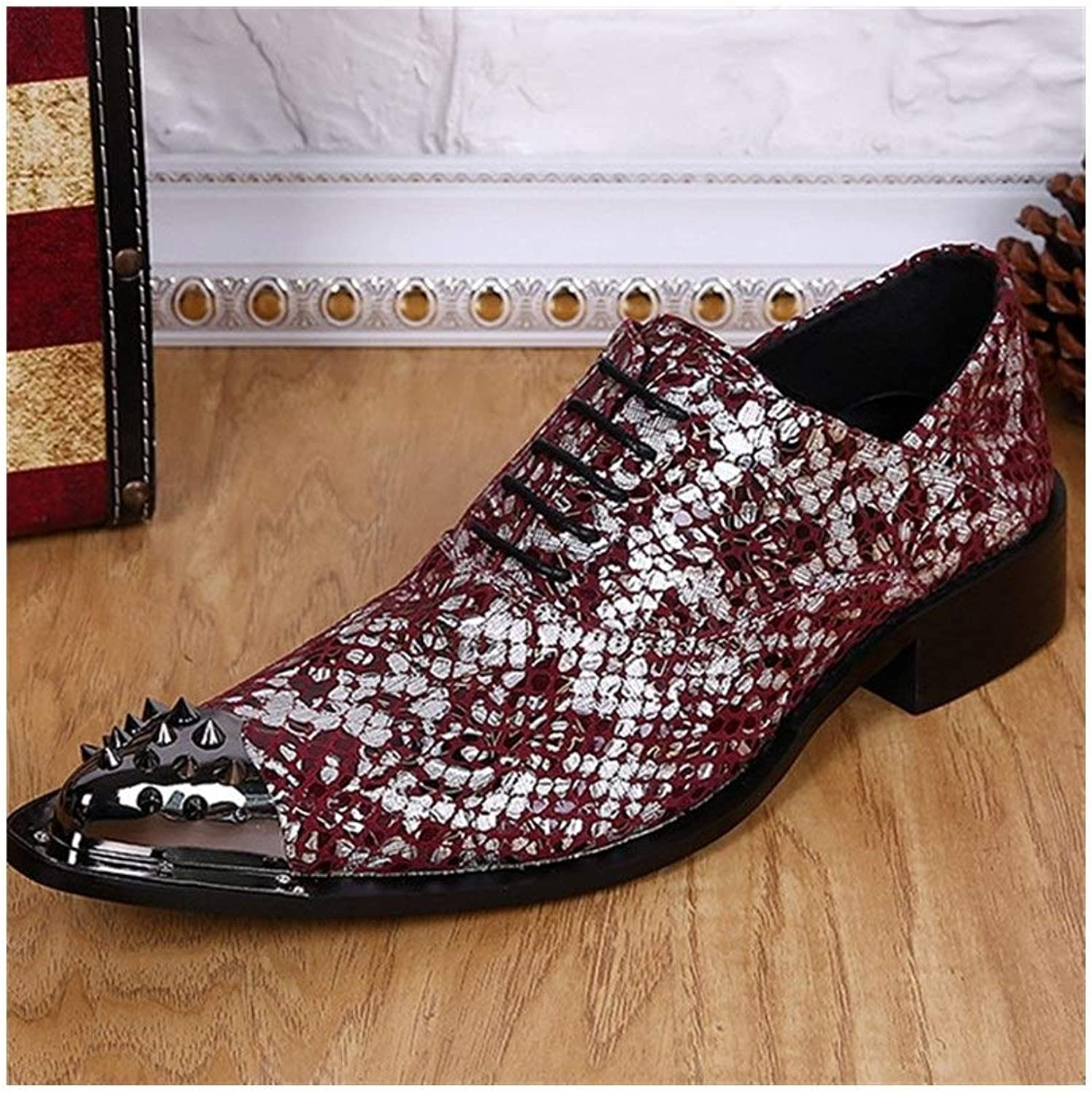 Rui Landade Oxford för mansformella skor Lace Lace Lace Up Style Genuine Leather Rivet Metal Toe Party Print Sekiner  prisvärd