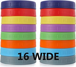 WIDE Mouth Mason Jar Lids [16 Pack] for Ball, Kerr and More - Food Grade Colored Plastic Storage Caps for Mason/Canning Ja...