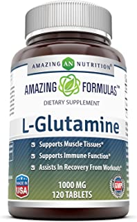 Amazing Formulas L Glutamine Tablets Supplement - 1000mg 120 Tablets Per Bottle - Promotes Workout Recovery, Supports The ...