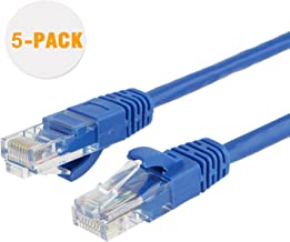 CableCreation 1 Foot (5-Pack) Short CAT 5e Ethernet Patch Cable, RJ45 Computer Network Cord, Cat 5e Patch Cord LAN Cable UTP 24AWG+100% Copper Wire, 0.3m, Blue Color
