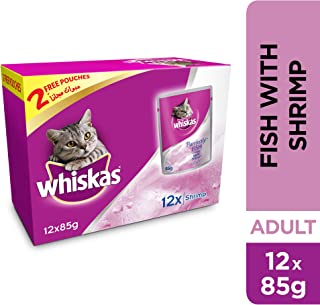 Whiskas Purrfectly Fish with Shrimp, Pouch, Multipack 85g x Pack of 12