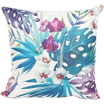 Venkaite - Funda de cojín de algodón y lino, fundas decorativas para el sofá, 45 x 45 cm: Amazon.es: Hogar