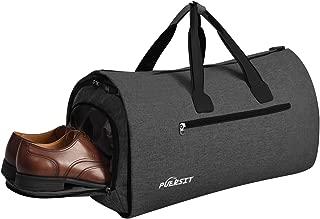 Puersit Suit Garment Bag Carry on Travel Bag for Men Women Travel & Sports Large Duffel Bag, 2 in 1 Hanging Suit Suitcase Business Travel Bag with Shoe Bag (Black)