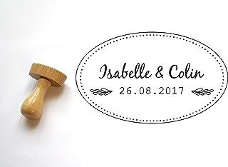 Timbro matrimonio personalizzato con nomi e data, stile cottage, forma ovale 5x3 cm