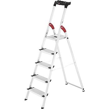 Hailo xxl easyclix - Escalera domestica xxl 5 peldaños 168cm aluminio: Amazon.es: Bricolaje y herramientas