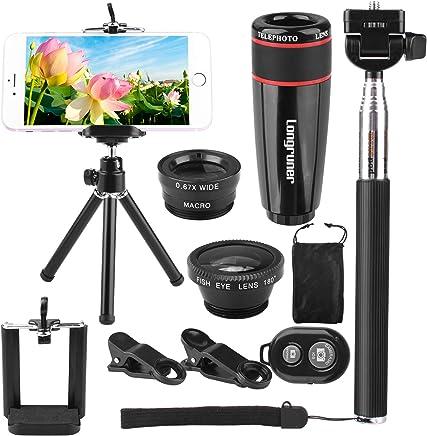 Longruner 10 in 1 Mini Camera Lens Kit 8 x Telephoto Lens + Fish Eye Lens + Wide Angle + Macro Lens Selfie Stick Monopod + Remote Control + Mini Tripod with a 6 Slots Case (Black)