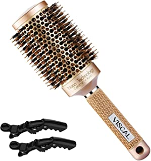 VISCAL Nano Thermal Ceramic & Ionic Round Hair Brush Large Round Hair Brush with Boar Bristle 3.3 inch, for Hair Drying, Styling, Curling, Adding Hair Volume and Shine, Gold Brown.