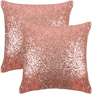 PONY DANCE Sparkling Pillow Covers - Comfy Satin Solid Sequin Fabric Throw  Cusion Covers Pillowcases for d94a8a9e4