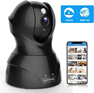Security Camera Pet WiFi Camera - KAMTRON 1536P Indoor Wireless IP Camera Full HD 3MP Home Video Surveillance System with IR Night Vision, Motion Detection and Two-Way Audio - Cloud Storage