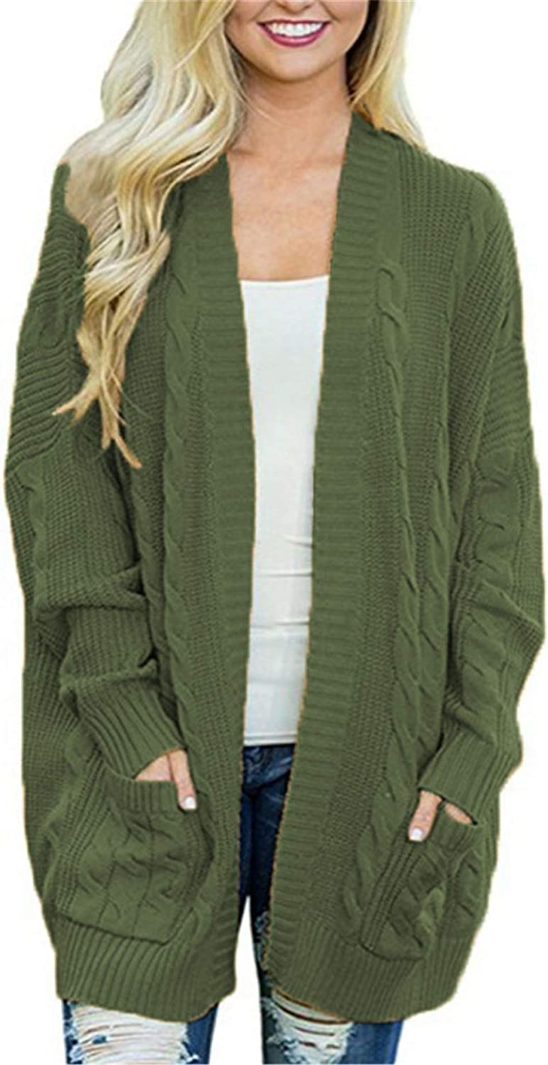 Andongnywell Women's Long Sleeve Cardigan Knit Sweater Open Front with Pockets Jackets Overcoats Outwear