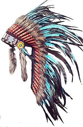 increíbles descuentos Y33 - Sombrero Indio mediano mediano mediano de Color Turquesa   penacho   tocado de plumas  ventas en linea