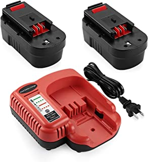 YTPowerPal 2Pack 3.6Ah HPB18 Replacement Black and Decker 18V Battery for NiCad 18 Volt B&D Battery + BDCCN24 BDFC240 9.6V 18V 24V Black and Decker Battery Charger