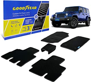 Goodyear Custom Fit Car Floor Liners for Jeep Wrangler 2014-2018, Black/Black 5 Pc. Set, All-Weather Diamond Shape Liner T...
