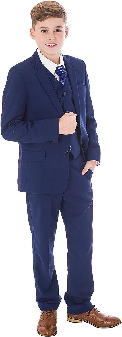 Vivaki Traje azul para niños, traje azul real, traje de 5 piezas, para boda, fiesta de graduación