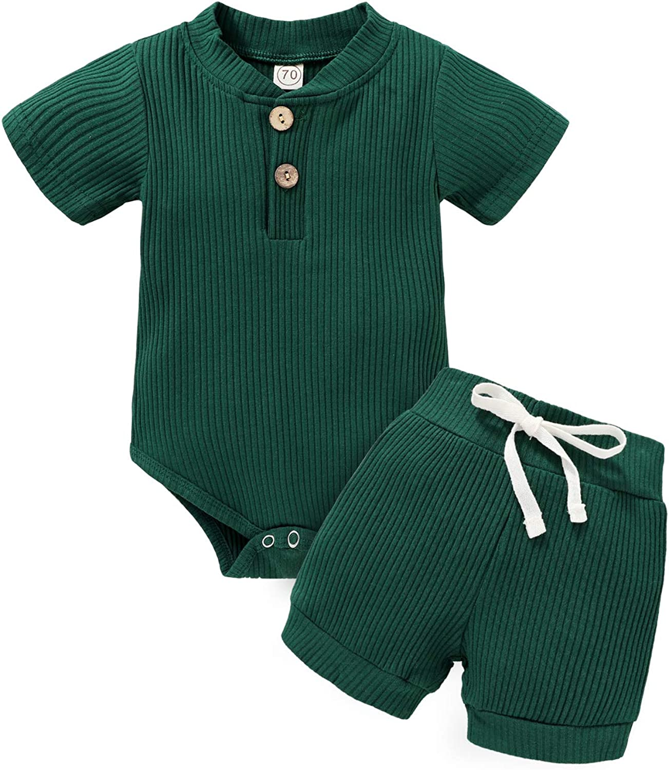 Newborn Baby Girls Boys Summer Clothes Sets Short Sleeve Solid Romper + Shorts Toddler Outfits 2Pcs