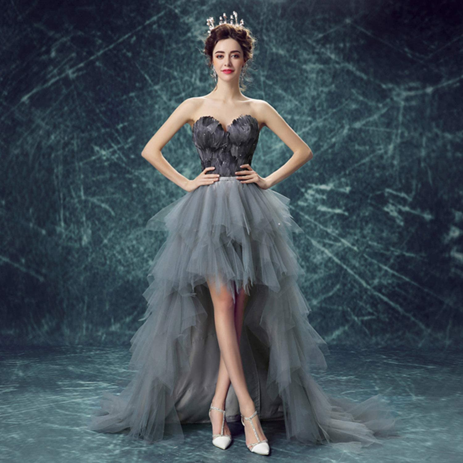 Bride Feather Wedding Dresses Simple Fashion Short Tailing Tee Dress Ideal for Women Ladies Ceremony Evening Party Ball Gown Use,Gift