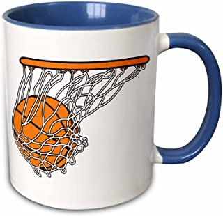 3dRose 116287_6 Basketball Woosh Ball In Net Vector Illustration Sports Design Two Tone Mug, 11 oz, Blue/White