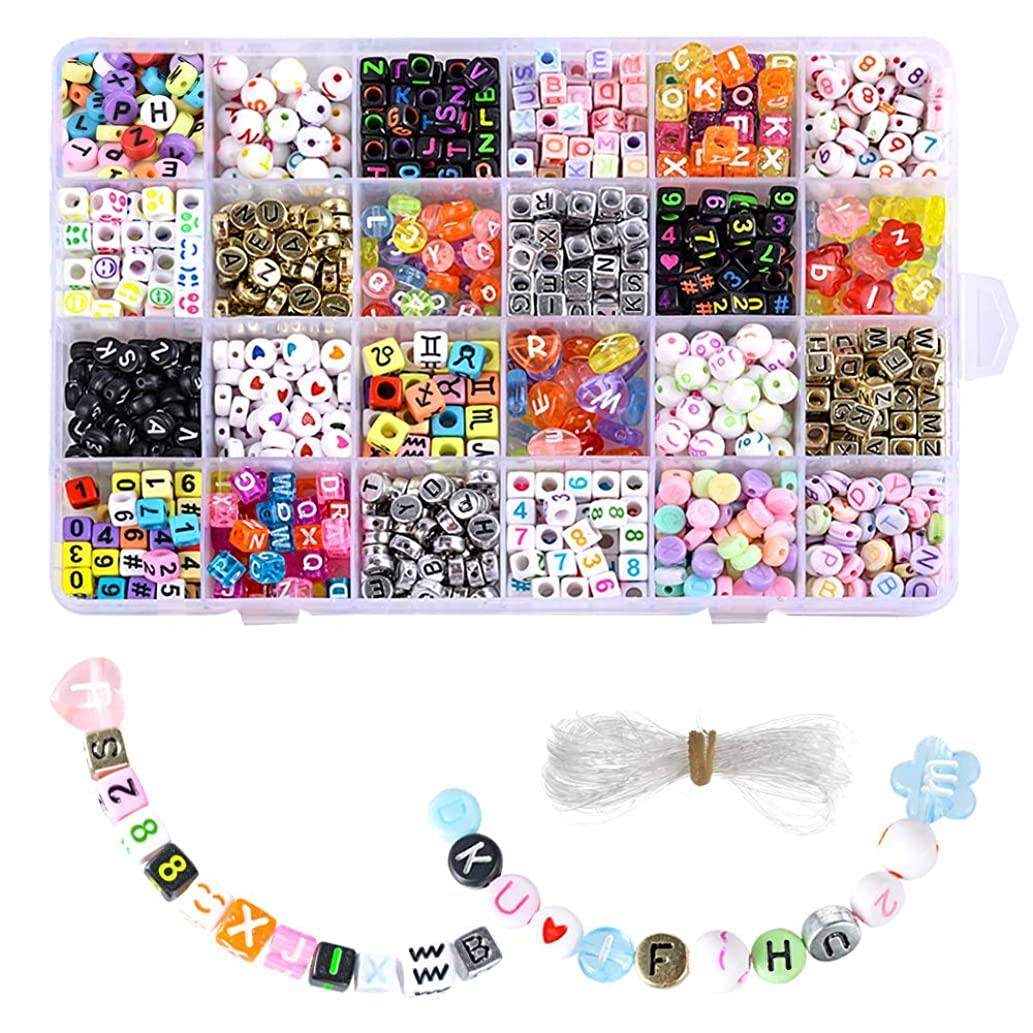 Souarts 1200pcs Acrylic Letter Beads Craft Beads for Bracelets 6x6mm Plastic Beads Letter Cube/Round Shape Loose Beads(Mixed Color)