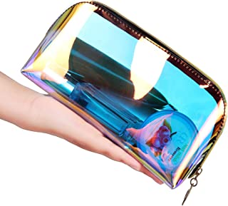 حقيبة مستحضرات التجميل على شكل نصف دائرة للنساء، حقائب مكياج ليزر ملونة، منظم سفر بسحاب، ادوات زينة وغسول، تخزين الماكياج